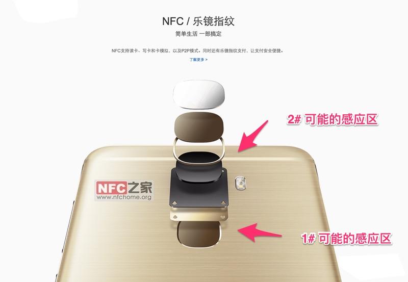 乐视 pro 3 手机可能的NFC感应区